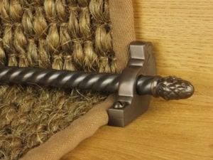 sherwood carpet rod with fir cone finial, bracket in bronze