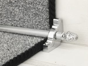 sherwood carpet rod with fir cone finial, bracket in brushed chrome