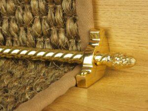 Sherwood carpet rod with fir cone finial, bracket in polished nickel
