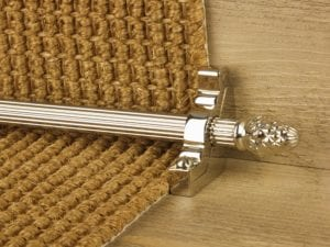 Sherwood carpet rod with fir cone finial, bracket in polished nickel
