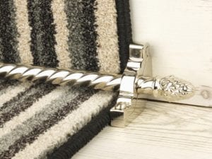 Sherbourne stair rod with spiral rod in polished nickel fitted to black & cream stair carpet