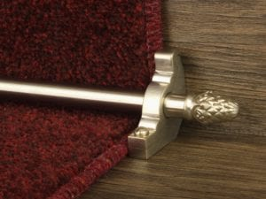 Sherwood carpet rod with fir cone finial, bracket in satin nickel