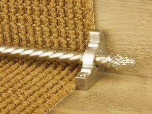 Sherwood carpet rod with fir cone finial, bracket in satin nickel