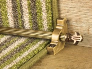 Bordeaux stair carpet rod, decorative end, fluted rod, bracket, antique brass