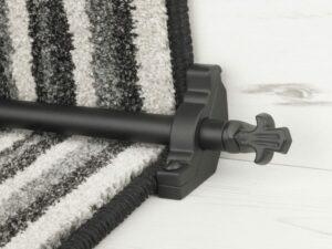 Bordeaux stair carpet rod, decorative end, bracket, fitted on runner, black