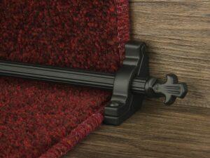 Bordeaux stair carpet rod, decorative end, fluted rod, bracket, black