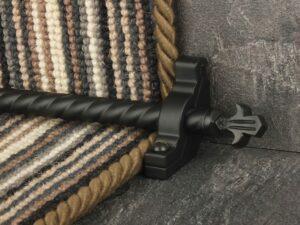Bordeaux stair carpet rod, decorative end, twisted design rod on runner, black
