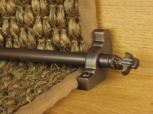 Bordeaux stair carpet rod, decorative end, bracket, fitted on runner, bronze