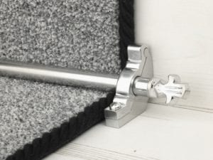 Bordeaux stair carpet rod, decorative end, bracket, fitted on runner, brushed chrome