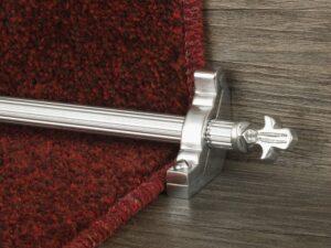 Bordeaux stair carpet rod, decorative end, fluted rod, bracket, brushed chrome