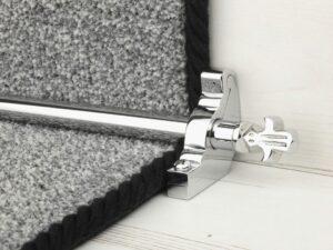 Bordeaux stair carpet rod, decorative end, bracket, fitted on runner, chrome