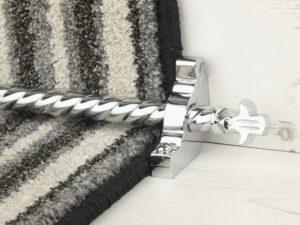 Bordeaux stair carpet rod, decorative end, twisted design rod on runner, chrome