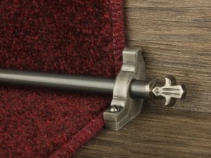 Bordeaux stair carpet rod, decorative end, bracket, fitted on runner, pewter