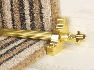 Bordeaux stair carpet rod, decorative end, fluted rod, bracket, polished brass