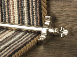 Bordeaux stair carpet rod, decorative end, bracket, fitted on runner, pollished nickel