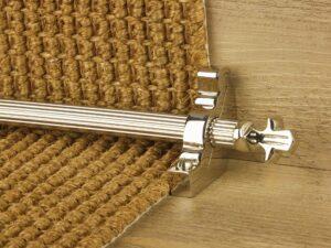 Bordeaux stair carpet rod, decorative end, fluted rod, bracket, polished nickel