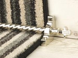 Bordeaux stair carpet rod, decorative end, twisted design rod on runner, polished nickel
