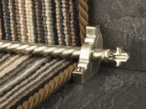 Bordeaux stair carpet rod, decorative end, twisted design rod on runner, satin nickel