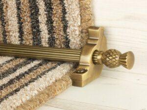 Arran stair carpet rod, thistle end, twisted design rod, bracket, antique brass