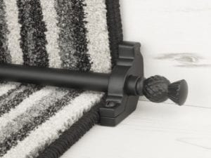 Arran stair carpet rod, thistle end, bracket, black