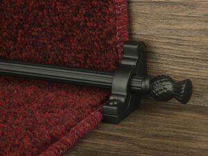 Arran stair carpet rod, thistle end, fluted rod, bracket, black