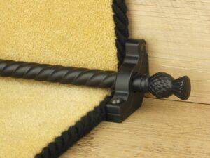Arran stair carpet rod, thistle end, twisted design rod, bracket, black