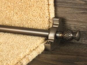 Arran stair carpet rod, thistle end, bracket, bronze
