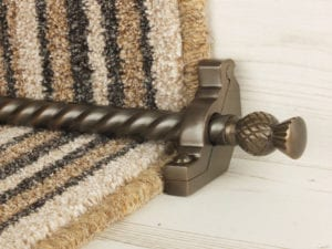 Arran stair carpet rod, thistle end, twisted design rod, bracket, bronze