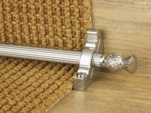 Arran stair carpet rod, thistle end, fluted rod, bracket, brushed nickel