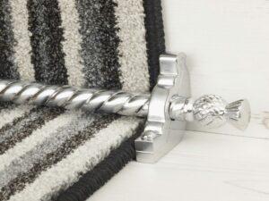 Arran stair carpet rod, thistle end, twisted design rod, bracket, brushed chrome