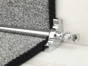 Arran stair carpet rod, thistle end, bracket, chrome