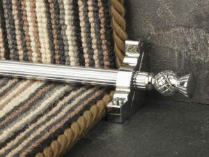Arran stair carpet rod, thistle end, fluted rod, bracket, chrome