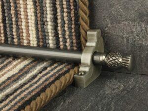 Arran stair carpet rod, thistle end, bracket, pewter