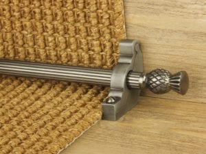 Arran stair carpet rod, thistle end, fluted rod, bracket, pewter