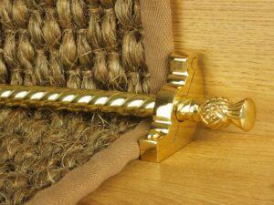 Arran stair carpet rod, thistle end, twisted design rod, bracket, polished brass