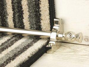 Arran stair carpet rod, thistle end, bracket, polished nickel