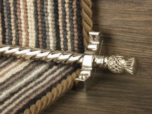 Arran stair carpet rod, thistle end, twisted design rod, bracket, polished nickel