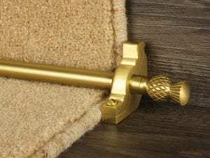 Arran stair carpet rod, thistle end, bracket, satin brass