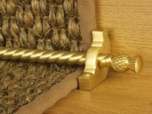 Arran stair carpet rod, thistle end, twisted design rod, bracket, satin brass