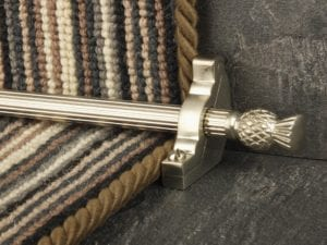 Arran stair carpet rod, thistle end, fluted rod, bracket, satin nickel