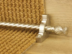 Arran stair carpet rod, thistle end, twisted design rod, bracket, satin nickel