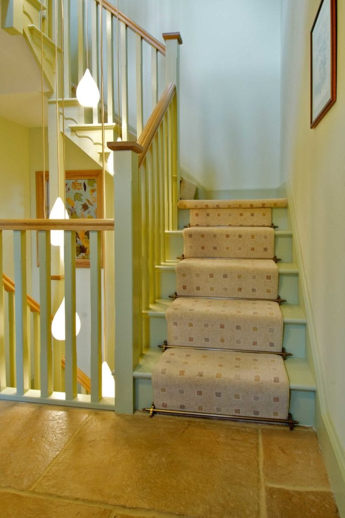 Chatsworth stair rod, antique brass, on staircase