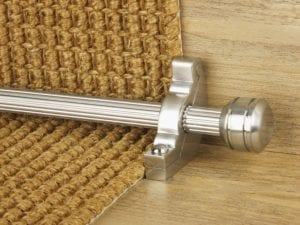 Piston end to stair rod and matching bracket, brushed chrome, fitted to sisal-covered step