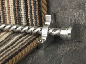 Piston end to spiral design stair rod and matching bracket, brushed chrome, brown striped step