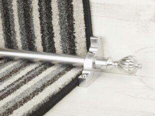 Cairo design stair rod on mono striped runner