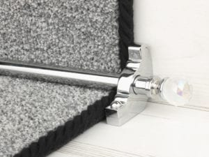 Crystal ended stair rods with chrome trim on grey fleck stair runner