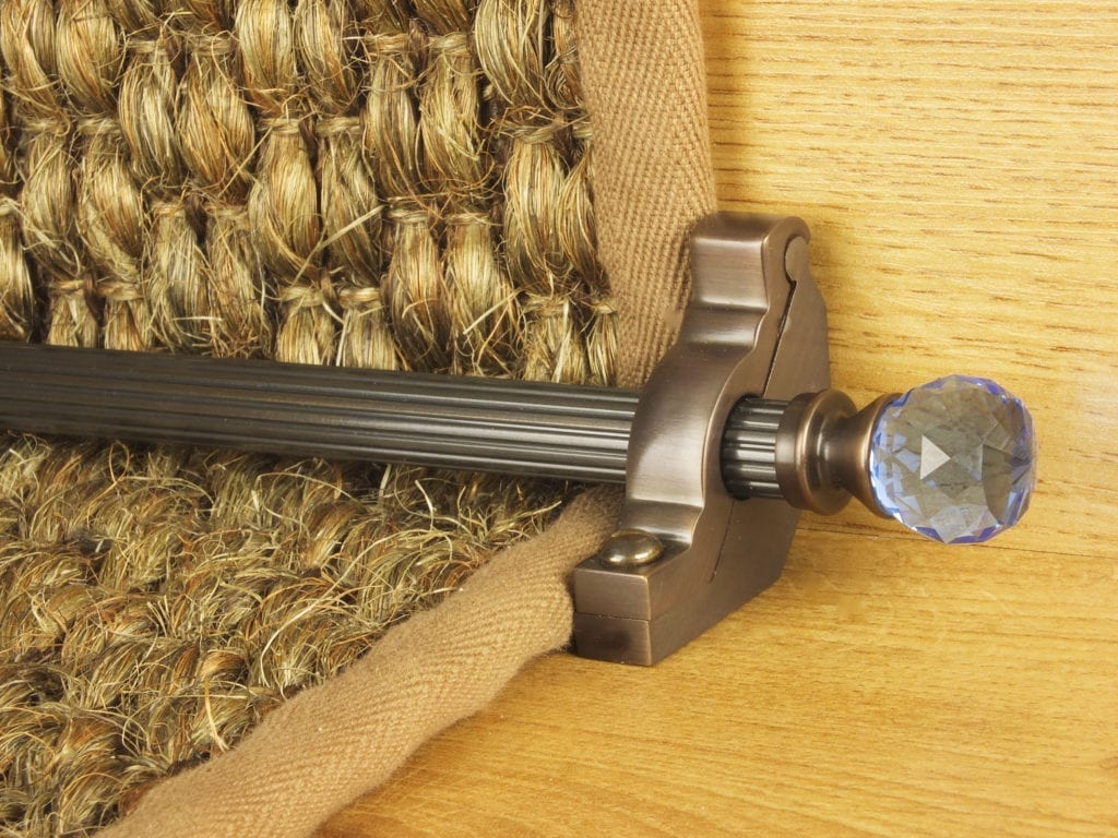 Crystal sky antique brass stair rods on natural runner