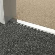 Premier Double Z9 door threshold joins two grey carpets in a doorway, brushed chrome