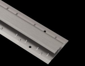 Al 92 aluminiuim door carpet thresholds, central bar with base needles either side, brushed stainless