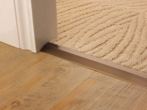 Carpet to tile transition different heights antique brass